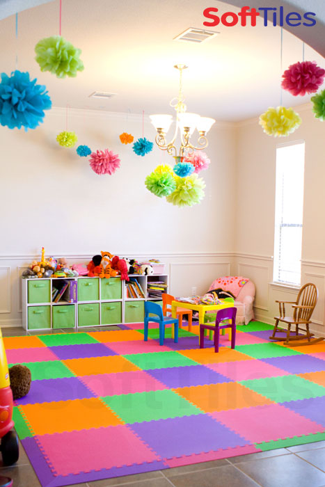 SoftTiles Colorful Playroom in Pink, Lime, and Purple