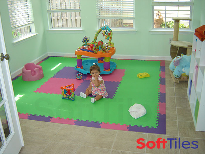 Playroom floor mat foam mats puzzle softtiles for Playroom floor ideas