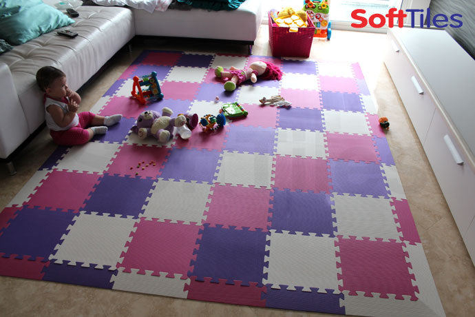 Playroom using SoftTiles Purple, Pink, and White