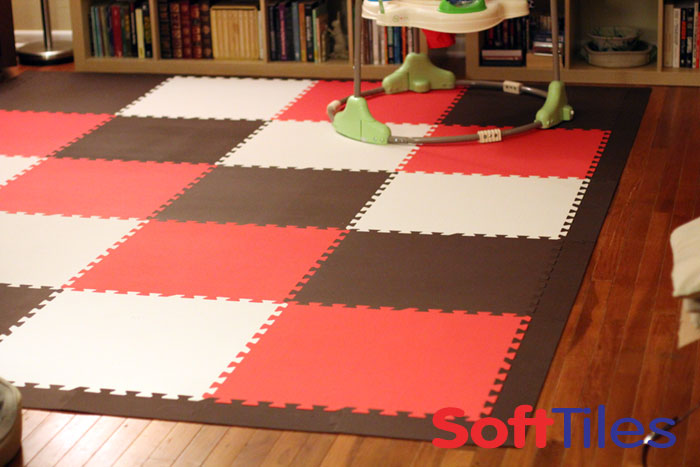 SoftTiles Playroom in Brown, Red, and White