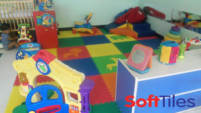 Colorful SoftTiles Safari Animals Playroom