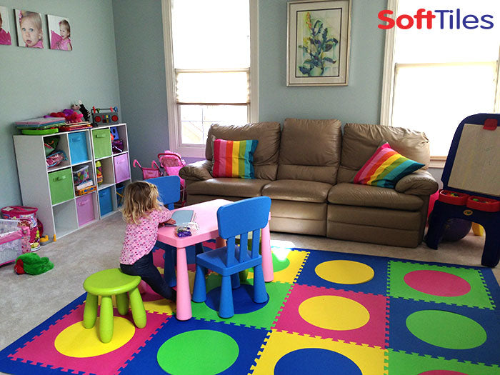 Girls Playroom using SoftTiles Circle Foam Mats