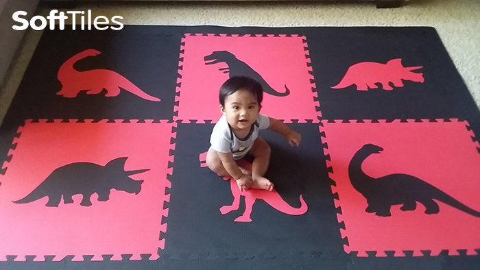 SoftTiles Dinosaur Kids Foam Mats for Playrooms