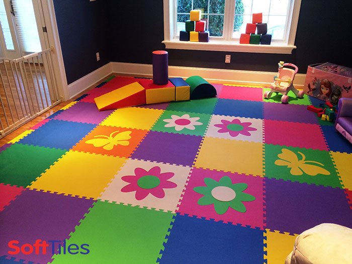 SoftTiles Colorful Playroom using SoftTiles Butterfly and Flower Foam Mats