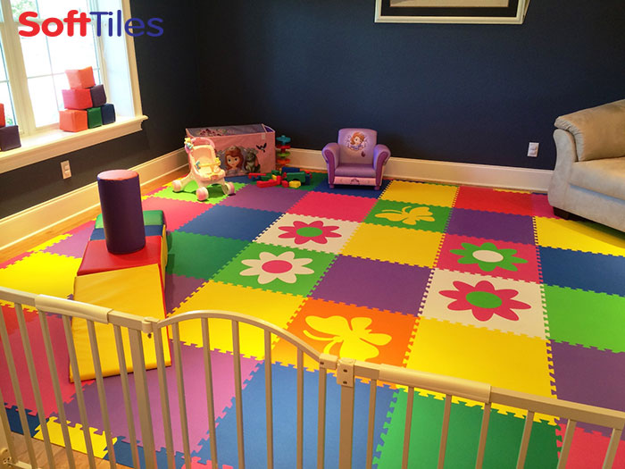 SoftTiles Children's Playroom with SoftTiles Butterfly and Flowers Foam Tiles