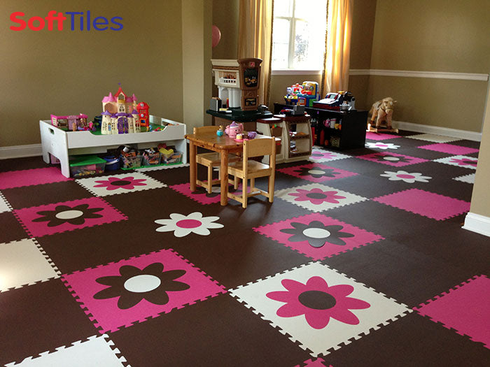 SoftTiles Flower Mats in Brown, Pink, and White