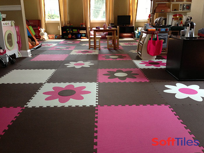Interlocking puzzle mats playroom ideas for girls for Playroom floor ideas