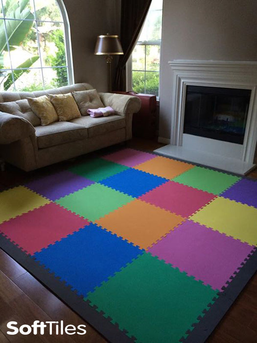 SoftTiles Solid Color Playroom using SoftTiles 2x2 foam mats