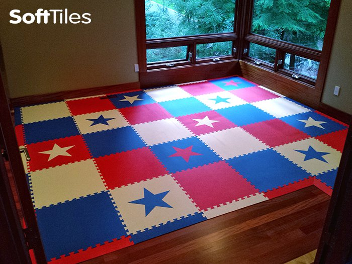 SoftTiles-Patriotic Playroom-Star pattern foam mats
