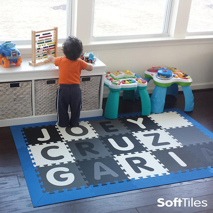 Foam alphabet play mat playmats for children softtiles for Playroom floor ideas