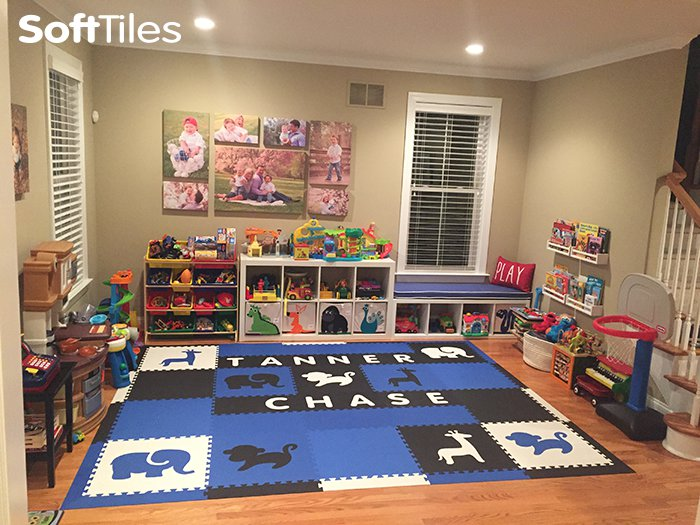 Softtiles Safari Animals Playroom Blue Black And White