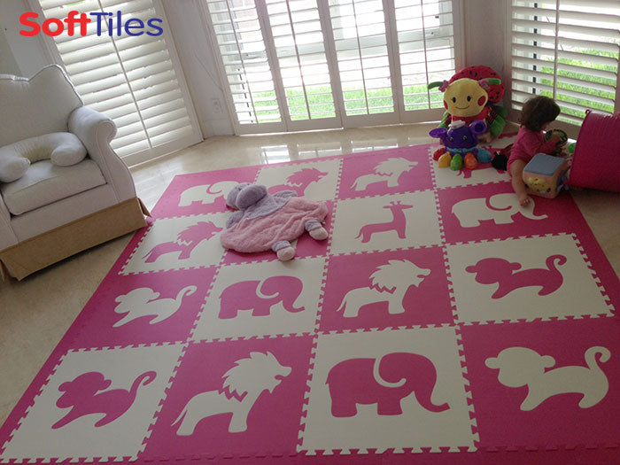 SoftTiles Safari Animals in Pink and White- Girls Playroom Flooring