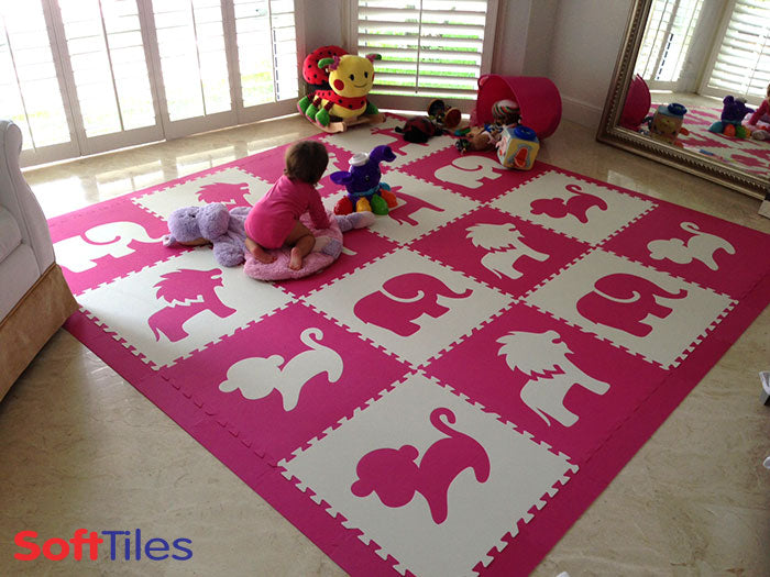 Girls Play Mats using SoftTiles Safari Animals in Pink and white