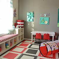 SoftTiles Die-Cut Square Foam Mats- Cat in the Hat Themed Room