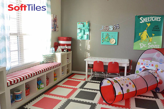 Playroom Ideas: SoftTiles Square Foam Mats- Dr. Seuss Cat in the Hat Room