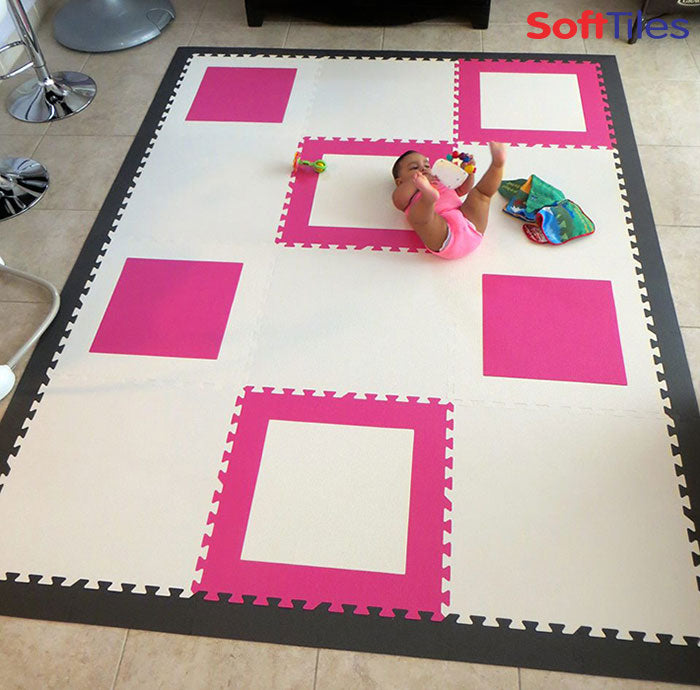 Pink And White Die Cut Square Foam Mats Contemporary Play