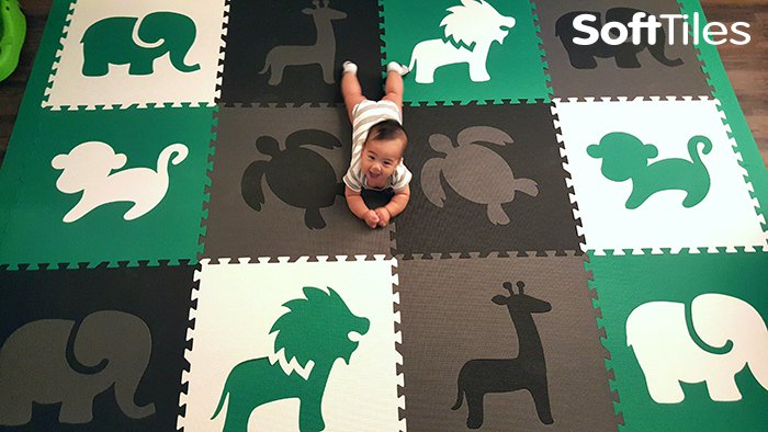 SoftTiles Foam Play Mat with Safari Animals and Turtle Shapes