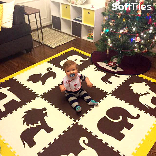 SoftTiles Safari Animals Brown and White Foam Play Mat
