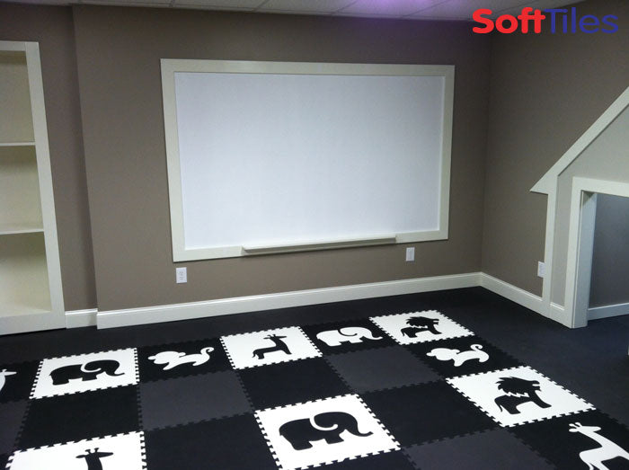 SoftTiles Safari Animals Playroom in Black and White
