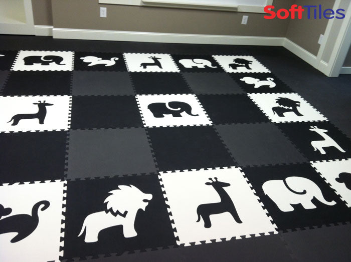 SoftTiles Safari Animals Playroom using Black and White Play Mats