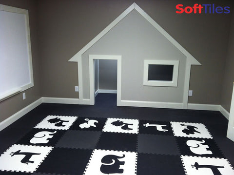 SoftTiles Black and White Safari Animals Playroom
