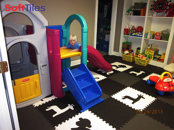 SoftTiles Safari Animals Play Mats for Kids in Black and White