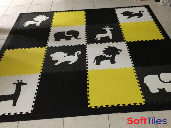 Animals Floor Mats for Kids SoftTiles in Black, Gray, White, and Yellow