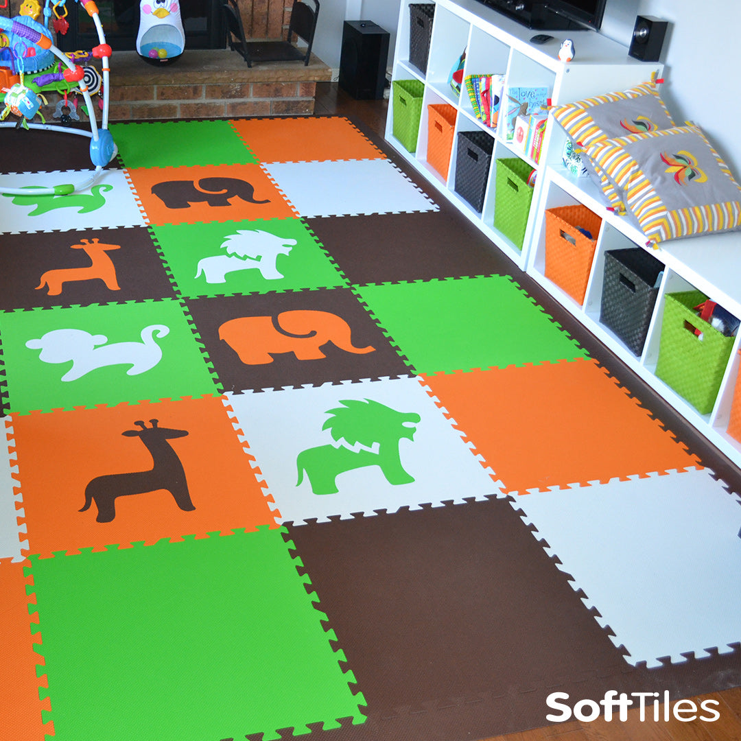 Safari Animals Orange Lime Brown White