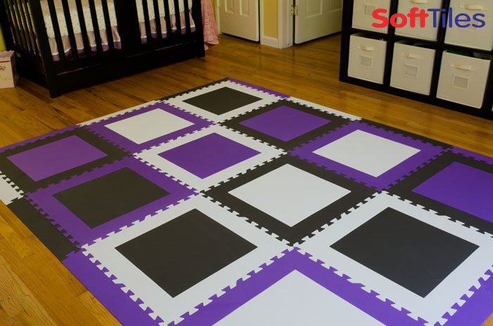 SoftTiles Die-Cut Squares Mat in Purple, Black, and White
