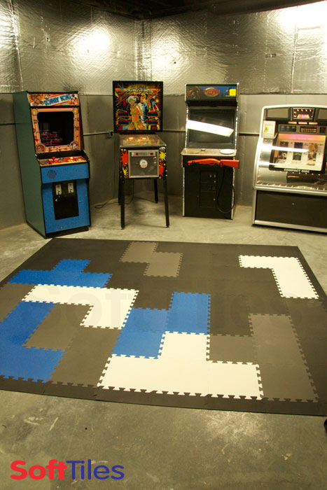 Game Room with Tetris inspired floor- Blue