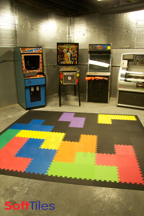 Game room with tetris inspired floor playroom using 1x1 for Playroom floor ideas