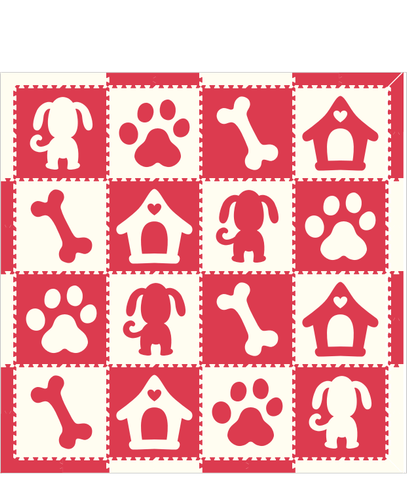 M238- Red and White Puppy 8x8