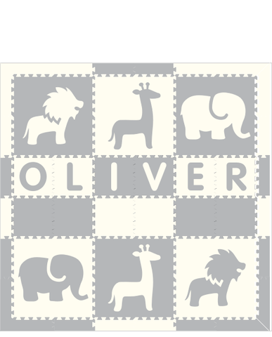 M367- Safari Name Light Gray White 6x6