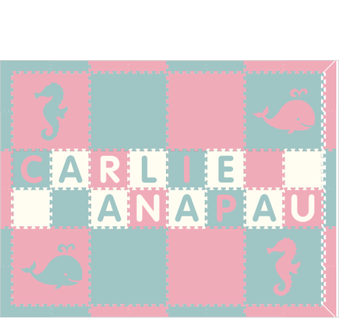 M298- Light Pink and Light Blue Sea Animals w/ name 6x8