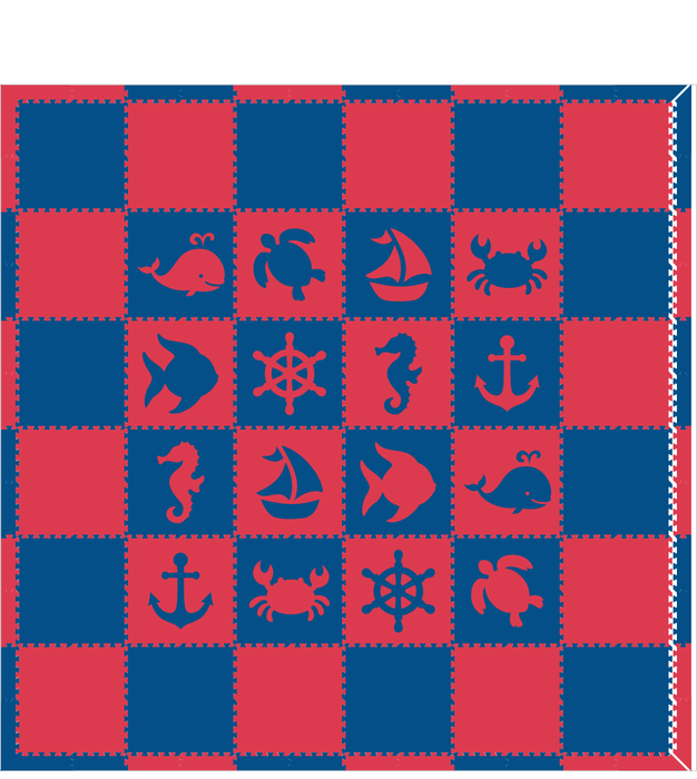 M79- Red and Blue Nautical/Sea Animal 12x12