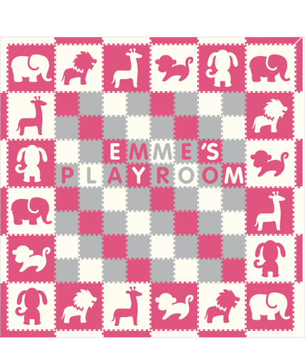 M283- Pink and White Safari/ Puppy w/ name 12x12