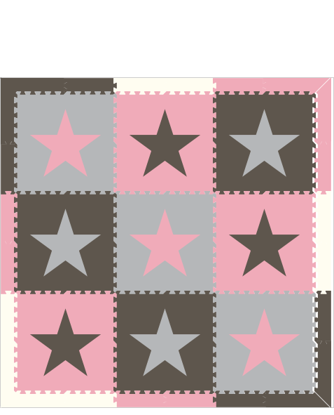 M422- Stars Gray, Light Gray, Pink 6x6