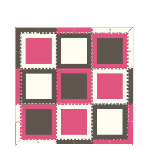 D166 Pink Gray White Squares