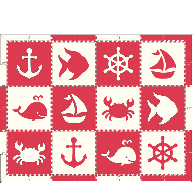 M41- Nautical/ Animals Red & White 6x8