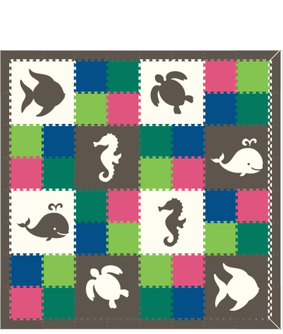 M121- White and Gray Sea Animals w/ Colorful 1x1's 8x8
