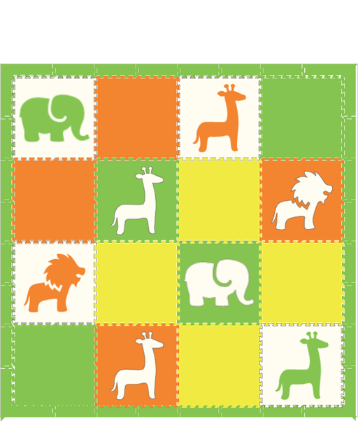 D159 Safari Animals Play Mat Lime White Orange Yellow