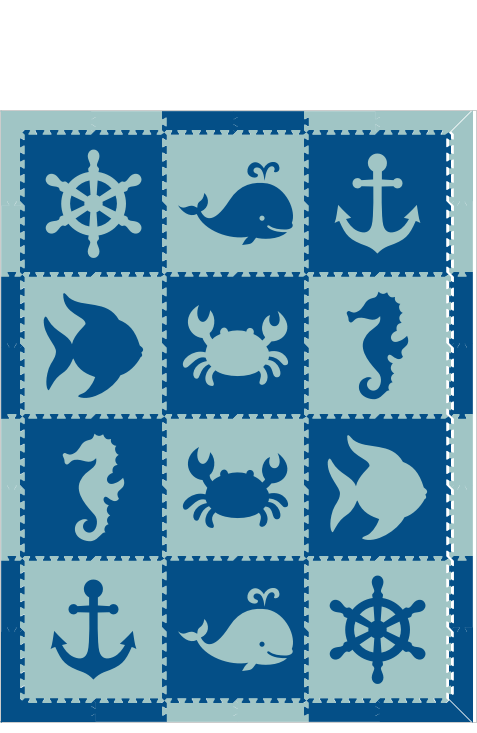 M40- Nautical/Animals Blue & Light Blue 6x8