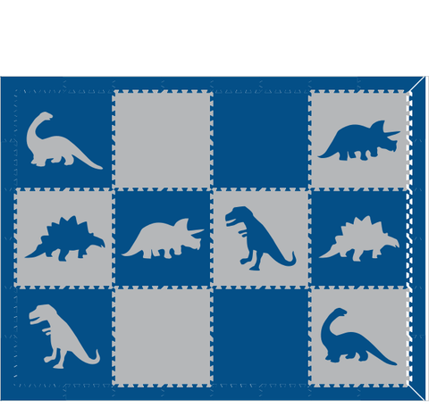 M199- Lt Gray and Blue Dinosaurs 6x8