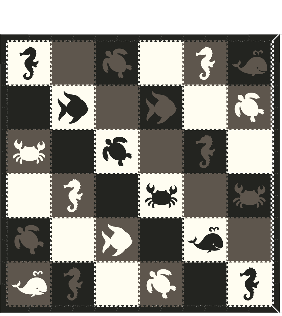 M64- Black, Gray, and White Nautical/Sea Animals 12x12