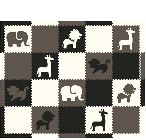 M71- Black, Gray, and White Safari Animals 8x10