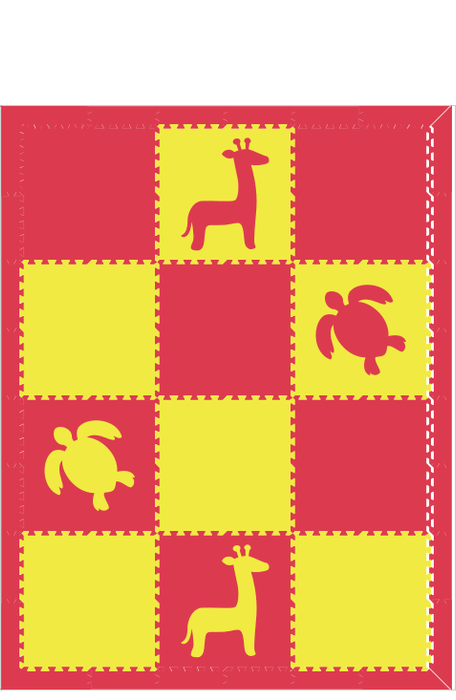 M96- Red and Yellow Safari Animals 6x8
