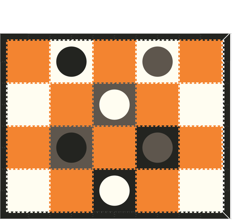 D157-Black, Gray, and White Circles with Orange Mats