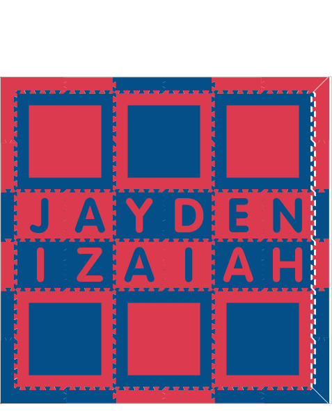 Jayden Izaiah Square Blue Red BR 6x6