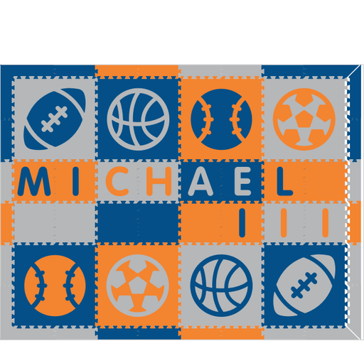 M491- Sports Name Blue, Orange, Light Gray 6x6