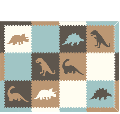 M287- Tan, Gray, White, Light Blue Dinosaurs 6x8